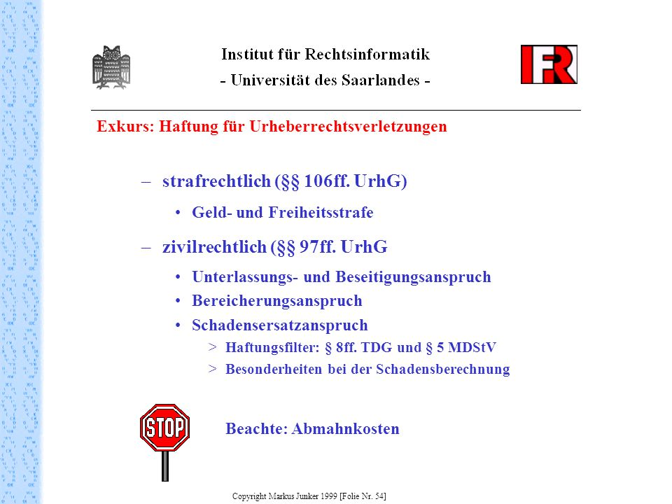 Copyright Markus Junker 1999 [Folie Nr. 54]